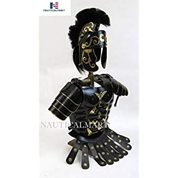 Image of Body Armor NauticalMart Roman Black Muscle Armor Cuirass Set W/Shoulders and Helmet W/Plume Halloween Costume
