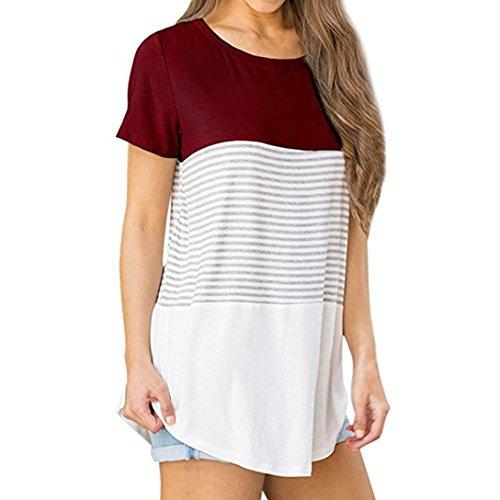 c3e944baa33 FAPIZI Womens Blouse Clearance Summer Women's Striped Short Sleeve T Shirt  Fashion Color Block Casual Tee