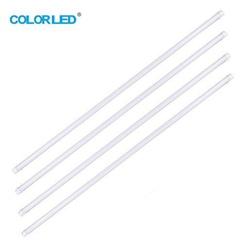COLORLED 4-Pack T8 Led Light Tube, 4ft, 18W (Equivalent 48W) 2300 Lm, 3500K Warm, Without Ballast Dual-Ended Power Aluminum Frosted Cover Lighting Replacement (Warm White Glow) by COLORLED