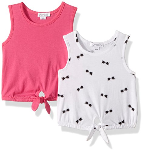Flapdoodles Baby 2 Pack Girls top Set with Printed and Solid Tank, hot Pink, 18 Months ()