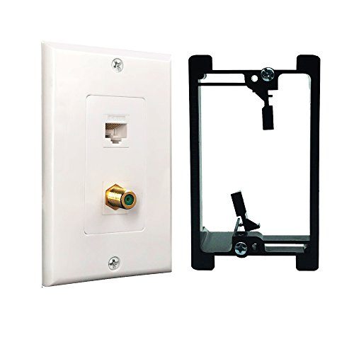 RJ45 Cat6 Ethernet Port and Gold Plated Brass Cable TV Coax F Type Port with Single Gang Low Voltage Mounting Bracket