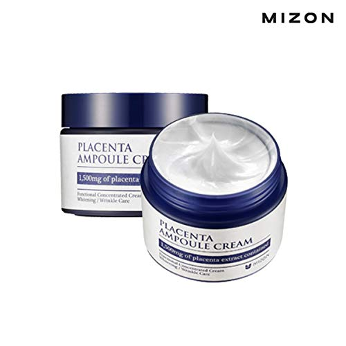 Mizon Placenta Ampoule for Wrinkle Care and Brightening, Free of Parabens (Placenta Ampoule Cream 1.69 fl oz)