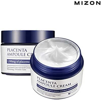 Mizon Placenta Ampoule for Wrinkle Care and Brightening, Free of Parabens (Placenta Ampoule Cream 1.69 fl oz) Highly Concentrated Placenta for Skin Defensive Power, Skin Renewal and Skin Protection