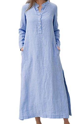 Di Manica Casual Lunga Blu Estiva Camicia Le Cotone Vestono Taglia Vestiti Donne wnqwSXOz