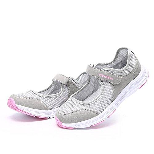 de tamaño de hy zapatillas Plus transpirable velcro verano senderismo de Ligero gris zapatos cierre Mujer ys xxw0qCvU