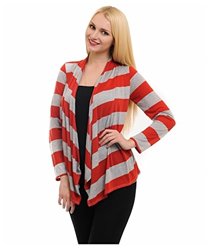 G2 Chic Women's Long Sleeve Open Front Longline Striped Cardigan(TOP-CGN,RED-S)