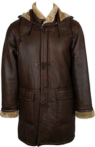 UNICORN Mens Hooded Sheepskin Duffle Coat Brown With Ginger Fur Real Leather Jacket #CB (XXL) (Unicorn Men Leather Jacket)