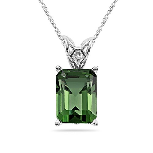 - Studs Galore 1.50-1.85 Cts of 8x6 mm AAA Emerald-cut Green Tourmaline Scroll Solitaire Pendant in Platinum