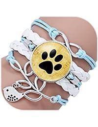 Handmade Pet Paws Glass Cabochon Bracelet For Dog Lovers Dog Footprint Leather Bracelets Jewelry