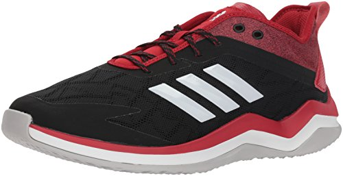 adidas Men's Speed Trainer 4 Baseball Shoe, Black/Crystal White/Power red, 10 M US