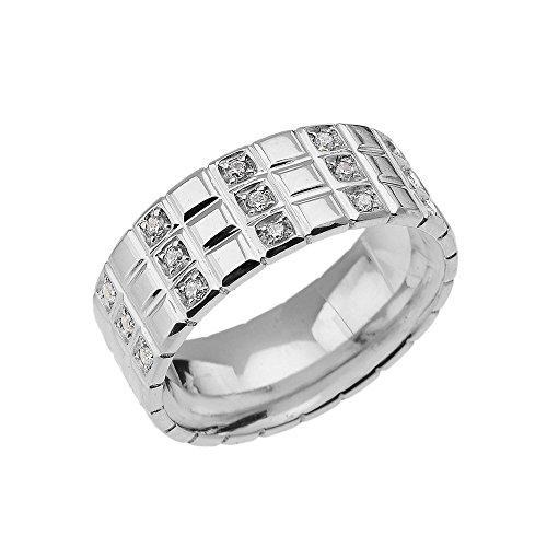 Men's Sterling Silver Diamond Checkerboard Wedding Band Ring (Size (Diamond Sterling Silver Dad Ring)