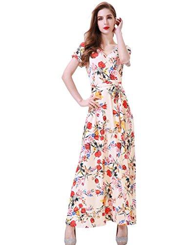 c95e20d629 Melynnco Women's Short Sleeve Faux Wrap V Neck Cute Summer Floral Maxi Dress