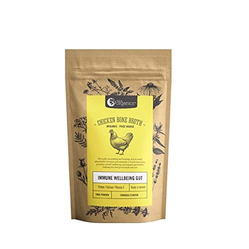 Organic Powdered Chicken Bone Broth with Turmeric - Packed with Vitamins D, B and Zinc to support immunity - Gluten Free, Paleo and Keto friendly - 3.52 oz