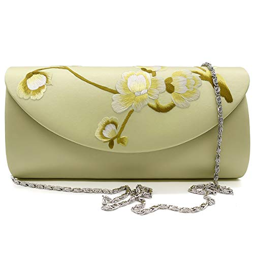 (Hand-embroidered Silk Crossbody Bag Women's Handbag Single Shoulder Bag Purse Massagers Bags (yellow))