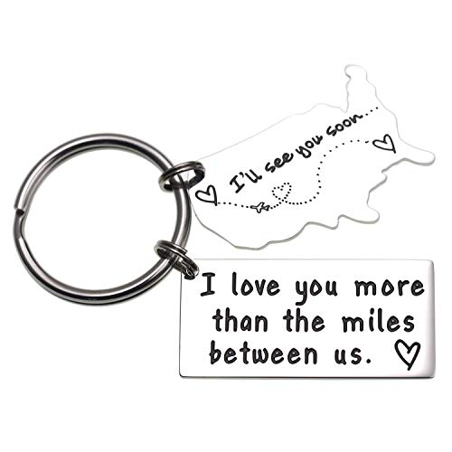 Love Keychains for Couples I Love You More Than The Miles Between Us I Will See You Soon Long Distance Relationship Gift Boyfriend Gift Girlfriend Gifts Going Away Gift State Keychain (Keychain)