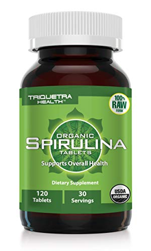 Organic Spirulina Tablets - 4 Organic Certifications - Raw & Clean Certified - Vegan Farming Process, Non-Irradiated, Max Nutrient Density (120 Count)