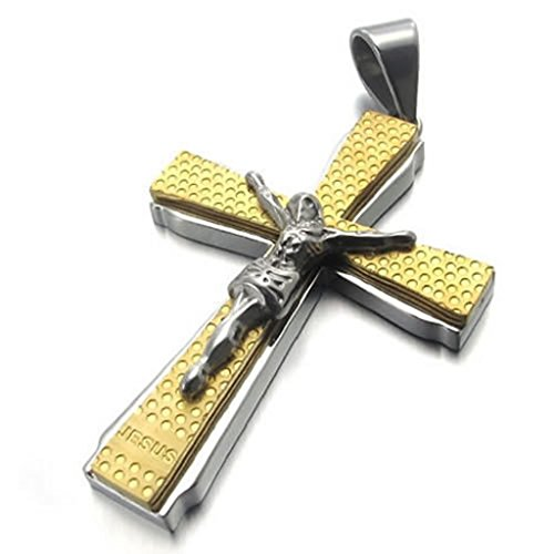 Stainless Steel Necklaces, Men's Pendant Necklaces Two-Tone Jesus Cross 18Inch