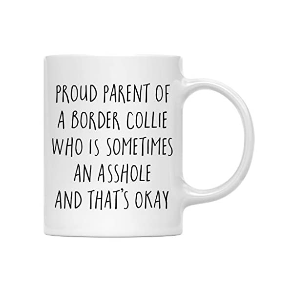 Andaz Press Funny Dog 11oz. Coffee Mug Gag Gift, Proud Parent of a Border Collie Who is Sometimes an Asshole and That's Okay, 1-Pack, Mom Dad Dog Lover's Christmas Birthday Ideas, with Gift Box 1