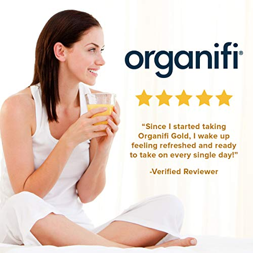 Organifi: Gold - Superfood Supplement Powder - 30 Servings - Stress Support, Better Rest, Relaxation and Promotes Restful Sleep - Turmeric and Reishi Infused