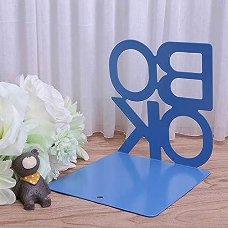 Rokoo 2 Pz Alfabeto Libro a Forma di Metallo Reggilibri Ferro Supporto Scrivania Supporti per Libri Blu