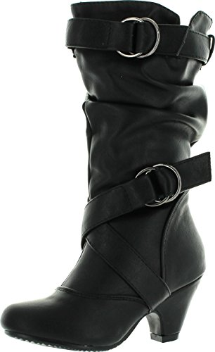 Pauline-39K Jr Girls Slouch Buckle High Heel Mid Calf Boots,Black,3