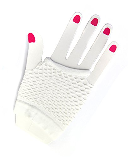 Short Fishnet Gloves (White) (White Fishnets)