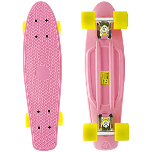 - M Merkapa Complete 22 inch Cruiser Skateboard for Youth, Beginners (Baby Pink)