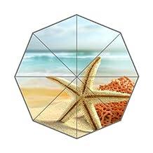 Best Design Auto Open/close Folding Umbrella Beach Sea Sand Starfish Shells Sky Clouds Summer Sunshade Foldable Umbrella