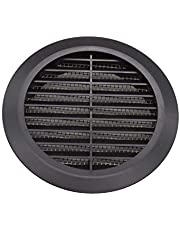 Vent Systems 4'' Inch Black Soffit Vent Cover - Round Air Vent Louver - Grill Cover - Built-in Insect Screen - HVAC Vents for Bathroom, Home Office, Kitchen