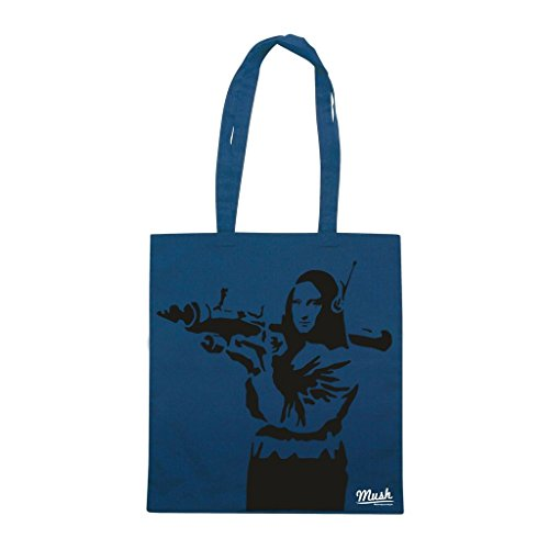 Borsa Banksy Monalisa - Blu Navy - Famosi by Mush Dress Your Style