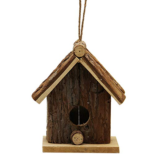 - winemana Wooden Outside Hanging Bird House for Small Bird Nature Ventilatio (Brown)