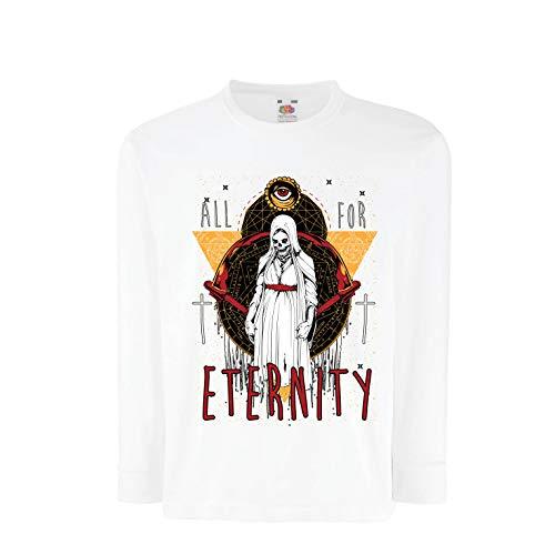lepni.me Boys/Girls T-Shirt All for Eternity Skeleton Halloween Exorcist Skull (9-11 Years White Multi -