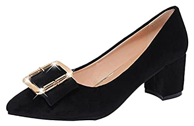 T&Mates Womens Low Cut Dress Slip On Pumps Wear To Work Office Square Chunky Heels Shoes