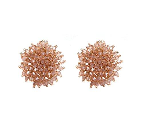 Seed Bead Stud Earrings,Fashion Beaded Earrings,Round Button Beads Cluster Stud Earrings For Women (Pink)