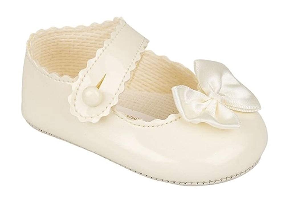Baypod B604 Baby Girl Ivory Soft Sole pre-Walking Shoe. Suitable for Christening Wedding Birthday Party. to fit Ages 0-18 Months