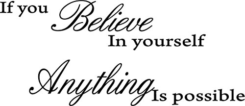 Picniva If You Believe in Yourself Anything Is Possible Removable Wall Decal Sticker DIY Art Decor Mural Vinyl Home Room Office Decals, Black