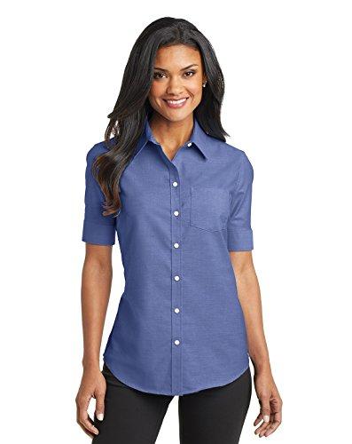 Port Authority Ladies Short Sleeve SuperPro Oxford Shirt, Navy, Large