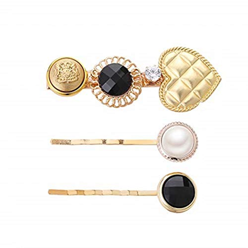 - TMROW 3Pcs/Set Vintage Cloth Button Duckbill Hair Clips Faux Pearl Hairpins Wavy Bobby Pins Side Bangs Styling Barrettes