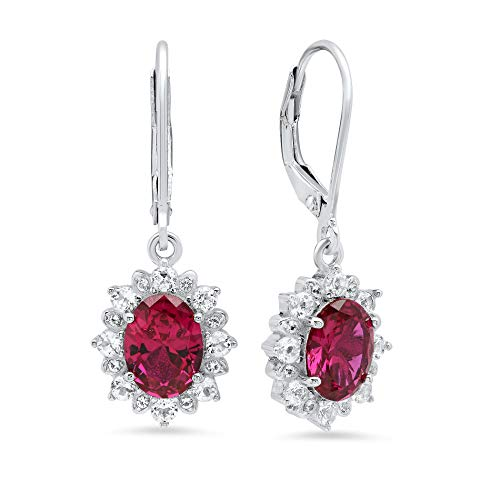 Sterling Silver Halo Sunburst Oval Created Ruby Leverback Earrings (8x6mm)