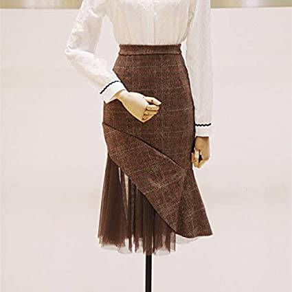 NVDKHXG Faldas de Mujer Midi Falda A Cuadros Otoño Invierno ...