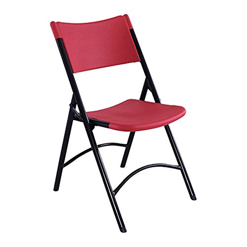 National Public Seating 600 Series Steel Frame Blow Molded Resin Plastic Seat and Back Folding Chair with Double Brace, 300 lbs Capacity, Red/Black (Carton of 4)