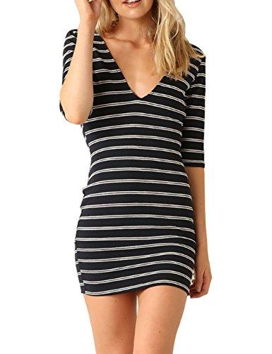 Just Quella Womens Bodycon Slim Fit Stripe Mini Dress 6012 (M, Black)