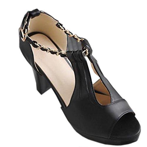 VECJUNIA Ladies Retro Peep Toe Sandals Ankle Strap Roman Shoes Black dddc9