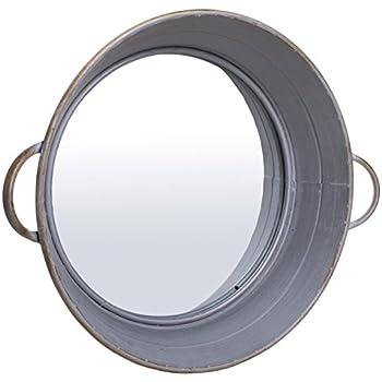 """Farm Cottage Whitewash Style Drum Tub Mirror - 20""""dia"""