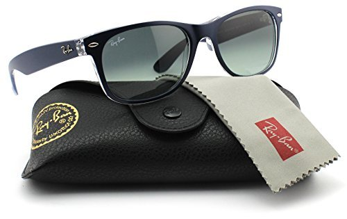 Ray-Ban RB2132 605371 Matte Blue on Transparent Frame / Grey Gradient Lens - Lens Blue Wayfarer