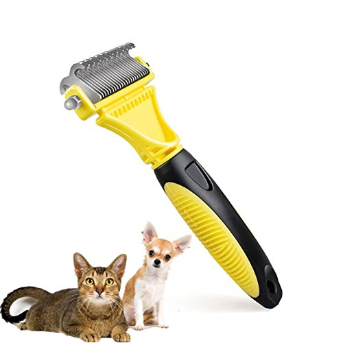 Dematting Tool For Dogs, 2 Sided Steel Undercoat Rake for Dogs and Cats with Long or Short Hair, Safe Grooming Comb or Easy Mats & Tangles Removing