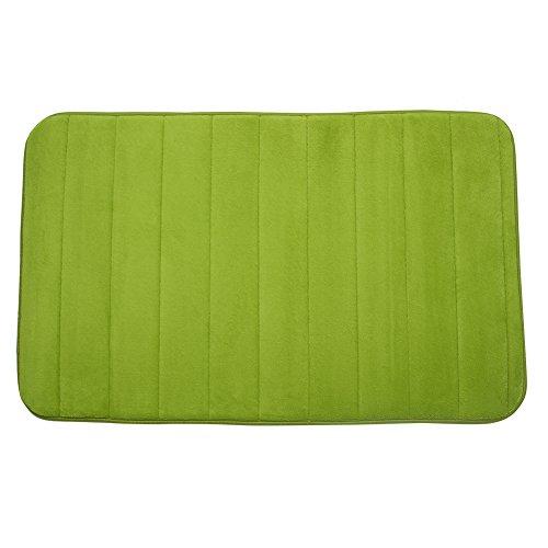 Kisstaker 50X80cm Micro Suede Soft Bathroom Carpet Memory Foam Bath Mat Carpets and Rugs Green - Leather Bath Mats