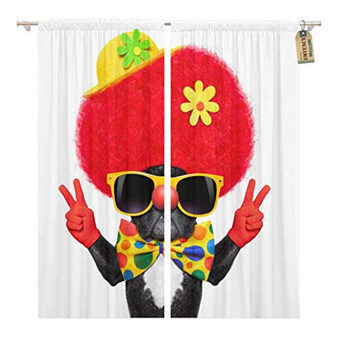Golee Window Curtain Colorful Silly Dog Wearing Clown Costume Peace Victory Fingers Home Decor Rod Pocket Drapes 2 Panels Curtain 104 x 96 inches ()