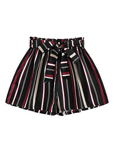 (SheIn Women's Tie Waist Inseam Pocket Side Plaid Shorts Large Stripe#3)