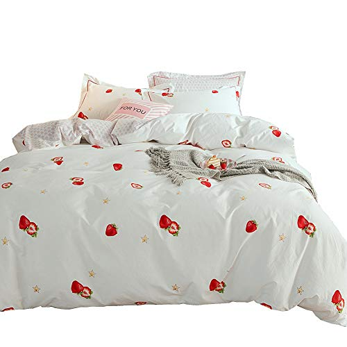 LAYENJOY Kids Strawberry Fruit Star Duvet Cover Set Queen for Teens Girls Women White Bedding Set with Soft Cotton 1 Duvet Cover Full and 2 Pillow Shams, No Comforter (Best Percale Sheets 2019)